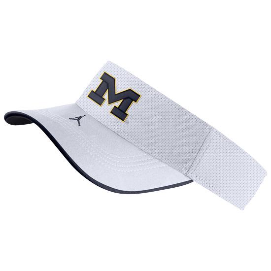 Jordan University of Michigan Football White Aerobill Sideline Visor