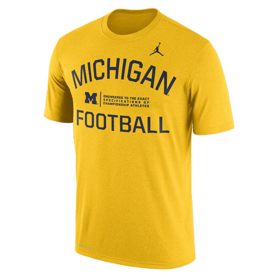 Jordan University of Michigan Football Yellow Dri-FIT Legend Lift Tee