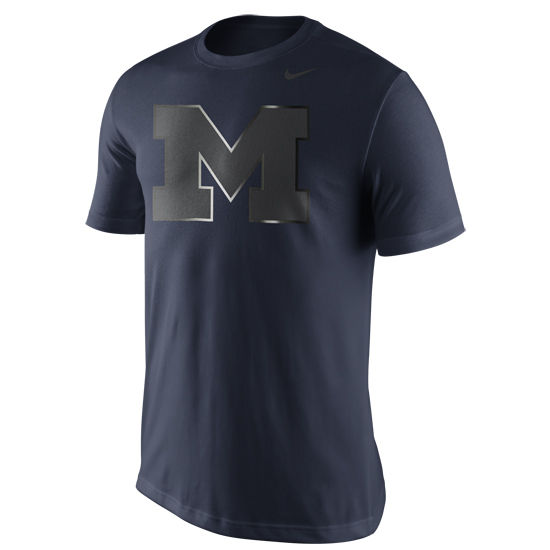 Nike University of Michigan Navy Reflective Block ''M'' Tee