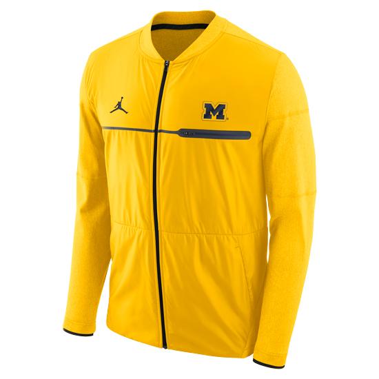 d073a37a943 Jordan University of Michigan Football Yellow Coaches Elite Hybrid  Mid-Weight Full Zip Jacket