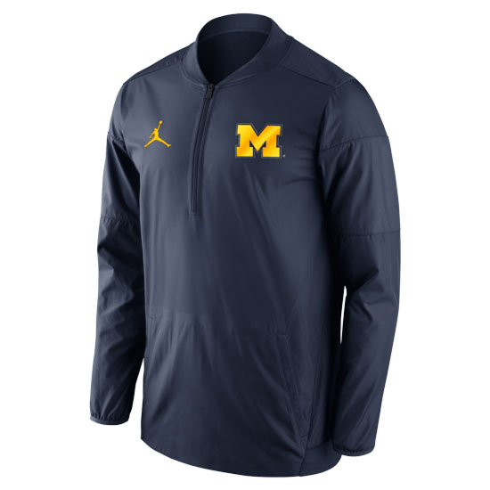 Jordan University of Michigan Football Navy Lockdown 1/2 Zip Pullover Jacket