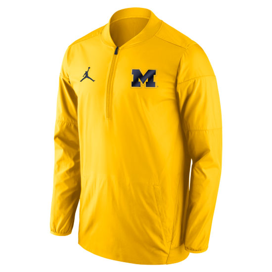 Jordan University of Michigan Football Yellow Lockdown 1/2 Zip Pullover Jacket