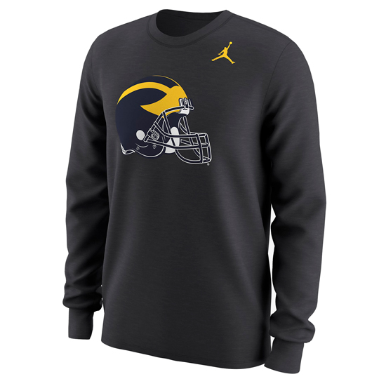 Jordan University of Michigan Football Anthracite Long Sleeve Helmet Tee
