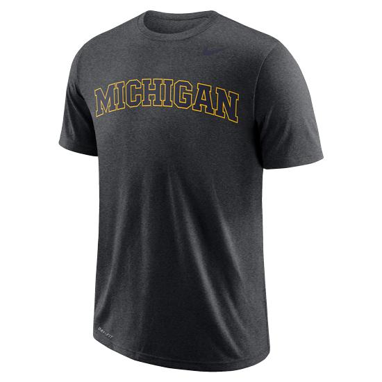 Nike University of Michigan Charcoal Heather Gray Basic Tee