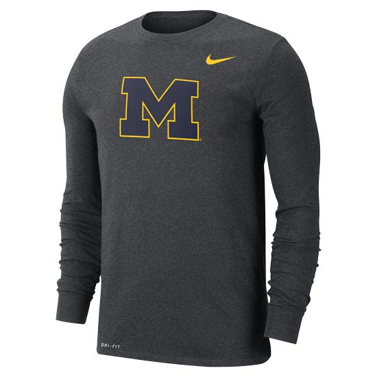 Nike University of Michigan Charcoal Gray Dri-FIT Cotton Long Sleeve Basic Block ''M'' Logo Tee