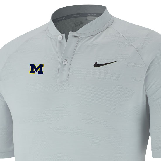 90293c04 Nike Golf University of Michigan Tiger Woods White Camo Zonal Cooling Blade  Collar Polo. Product Thumbnail Product Thumbnail Product Thumbnail