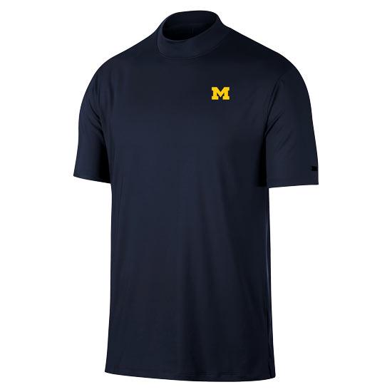 Nike Golf University of Michigan Tiger Woods Navy Dri-FIT  Mock Tee