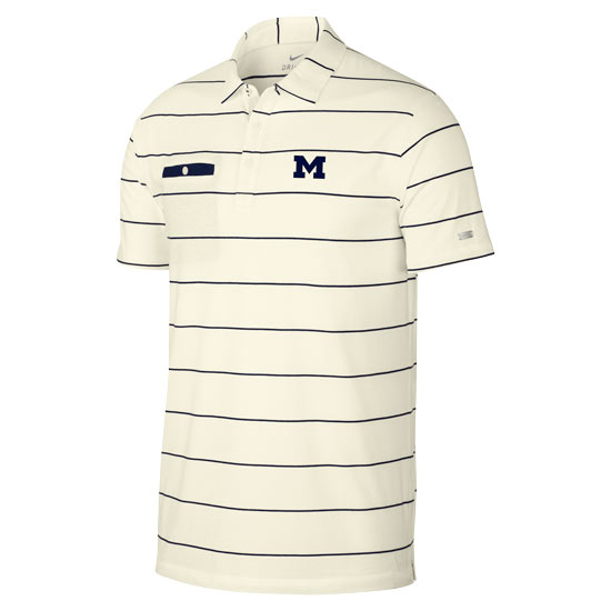 Nike Golf University of Michigan Sail Striped Dri-FIT Player Pocket Polo