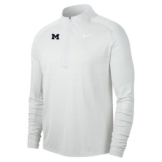 Nike Golf University of Michigan Pure Platinum White Dri-FIT 1/2 Zip Golf Pullover