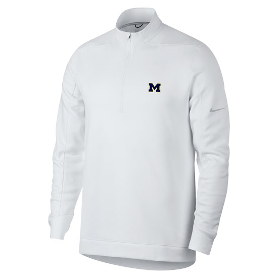 Nike Golf University of Michigan White Therma-FIT 1/4 Zip Pullover