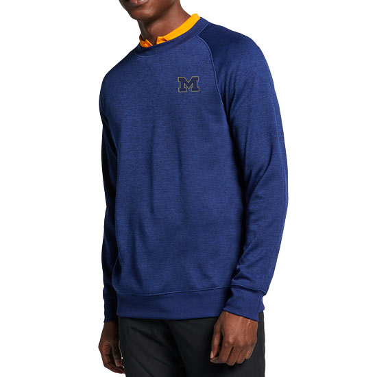 Nike Golf University of Michigan Blue Void Dri-FIT Crewneck Golf Sweater