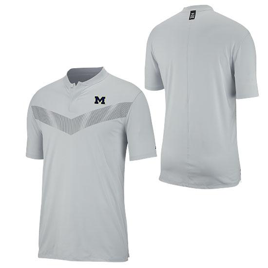 Nike Golf University of Michigan Tiger Woods Pure Platinum Dri-FIT Vapor Blade Collar Polo