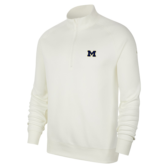 Nike Golf University of Michigan White Player Dri-FIT 1/2 Zip Pullover