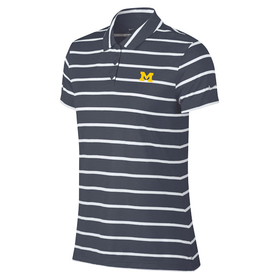 Nike Golf University of Michigan Women's Heather Navy/White Victory Striped Polo