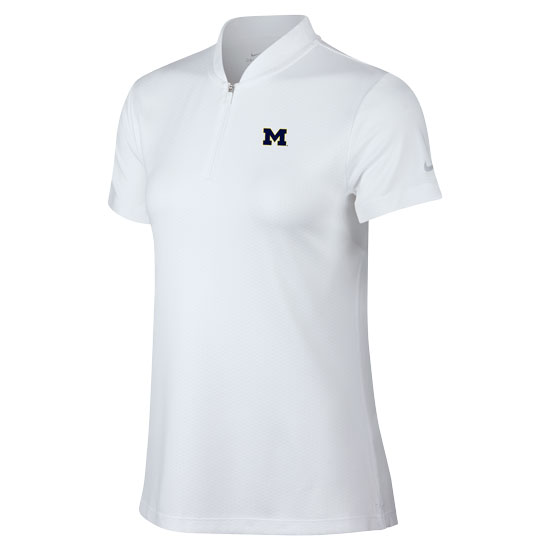 Nike Golf University of Michigan Women's White Ace Blade Collar Dri-FIT Polo
