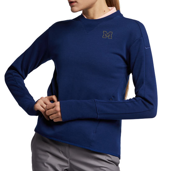Nike Golf University of Michigan Women's Blue Void Dri-FIT Crewneck Sweatshirt