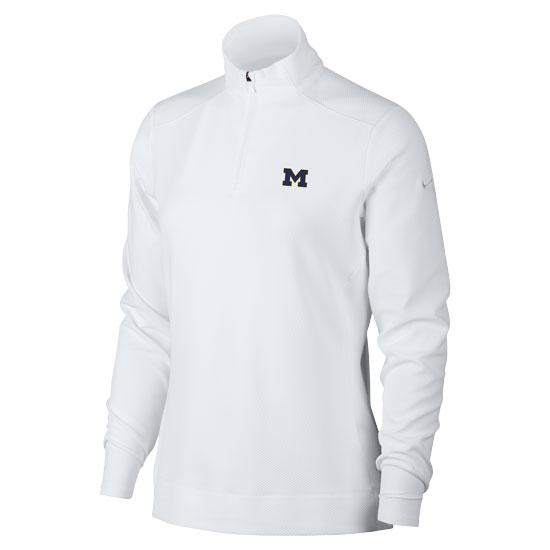 Nike Golf University of Michigan Women's White Dri-FIT 1/4 Zip Pullover