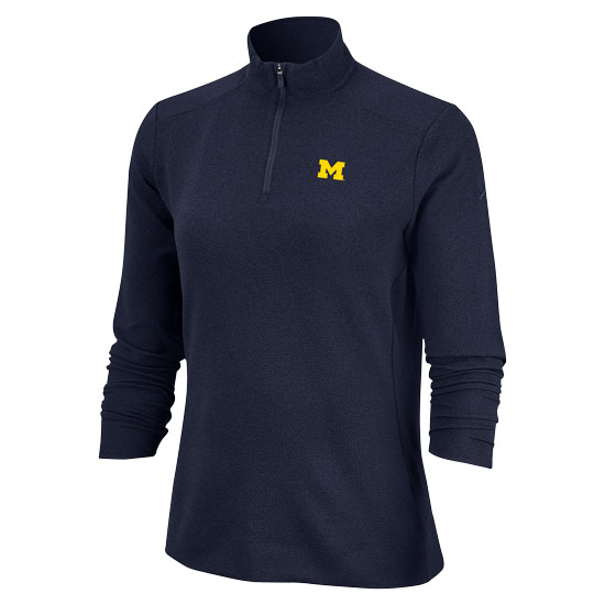 Nike Golf University of Michigan Women's Navy Dri-FIT 1/4 Zip Pullover