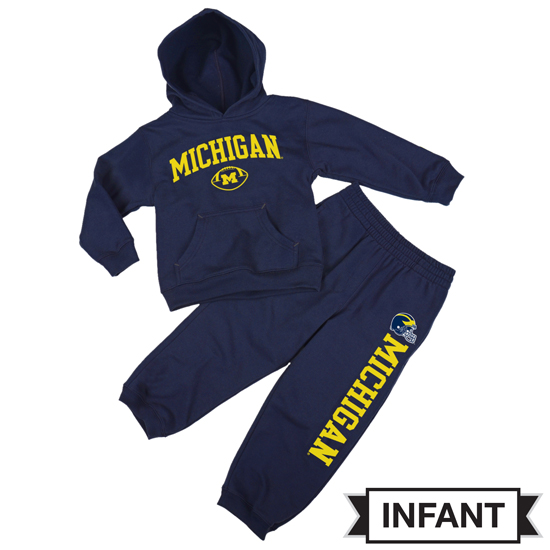 Outerstuff University of Michigan Football Infant Navy Hood and Pant Set