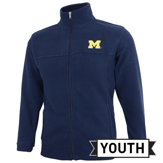 Outerstuff University of Michigan Youth Navy Polar Fleece Full Zip Jacket