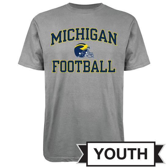Outerstuff University of Michigan Football Youth Gray Helmet Tee