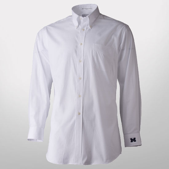Paul fredrick white button down collar trim fit dress shirt for Button down collar golf shirt
