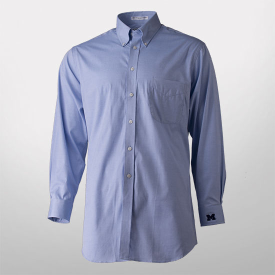 Paul fredrick blue button down collar trim fit dress shirt for Button down collar golf shirt