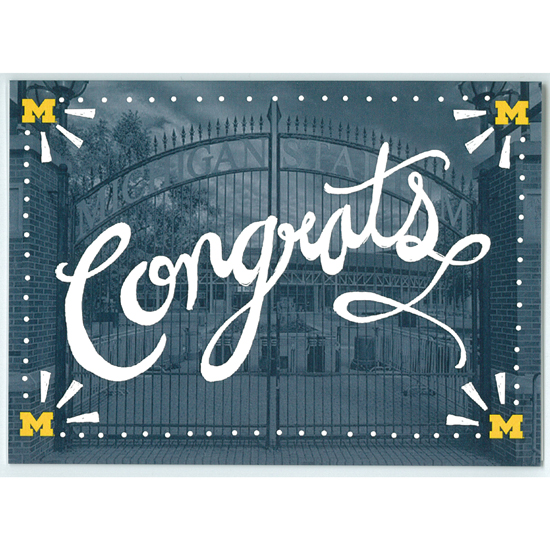 Paulson Designs University of Michigan ''Congrats'' Note Card