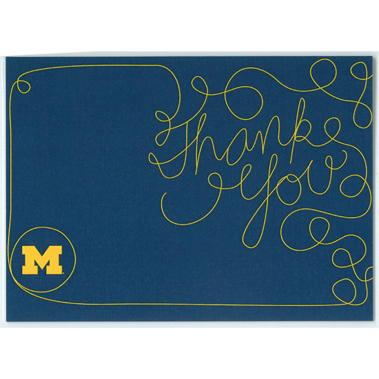 Paulson Designs University of Michigan Navy ''Thank You'' Note Card