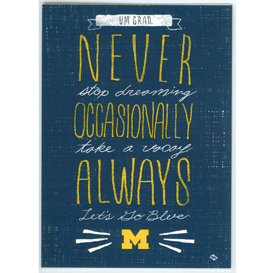 Paulson Designs University of Michigan ''Always Go Blue'' Graduation Note Card