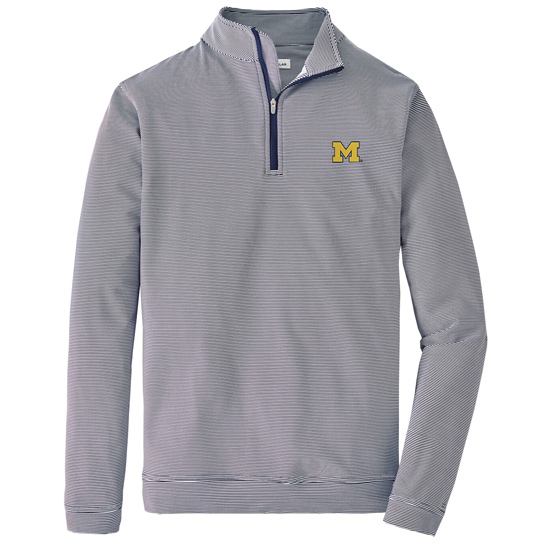 Peter Millar University of Michigan Gray/White Perth Mini-Stripe Stretch Loop Terry 1/4 Zip Pullover