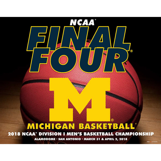 Prographs University of Michigan Basketball Final Four 16 x 20 Studio Ball Print