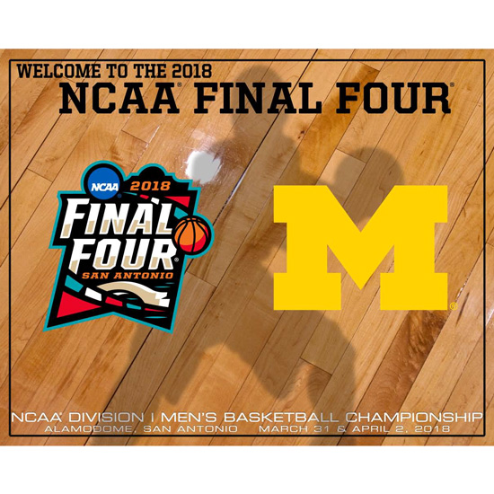 Prographs University of Michigan Basketball Final Four 16 x 20 Shadow Court Print