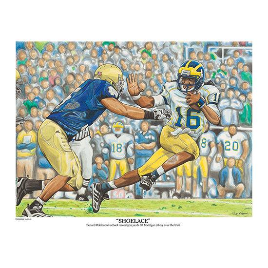 Scott M. Brannan University of Michigan Football Shoelace Lithograph - 18x24