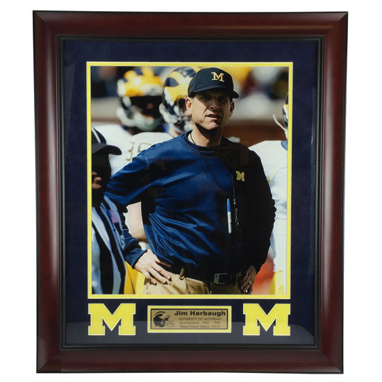 Take 2 Authentic University of Michigan Football Jim Harbaugh Framed Picture