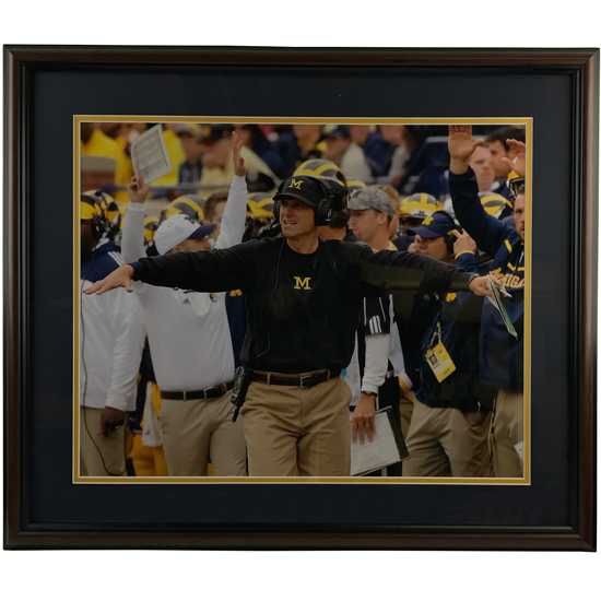 University of Michigan Football Framed Picture: Jim Harbaugh (Arms Out)