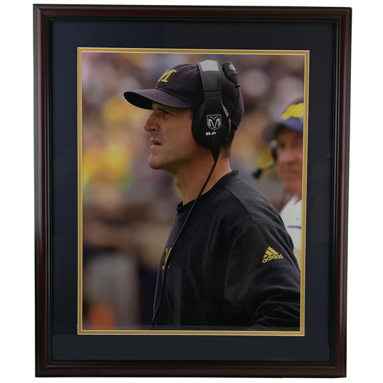 University of Michigan Football Framed Picture: Jim Harbaugh Profile