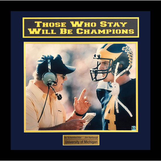 University of Michigan Football Framed Picture: Bo & Jim Those Who Stay