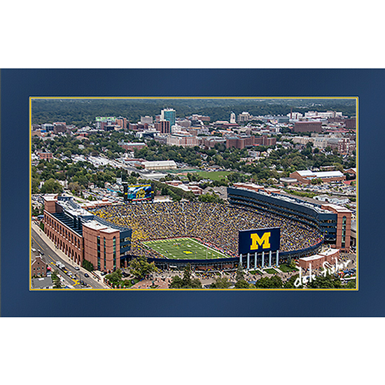 Dale Fisher University of Michigan Football Coach Harbaugh's First Game and Win Aerial 11x17 Photo-- LIMITED EDITION