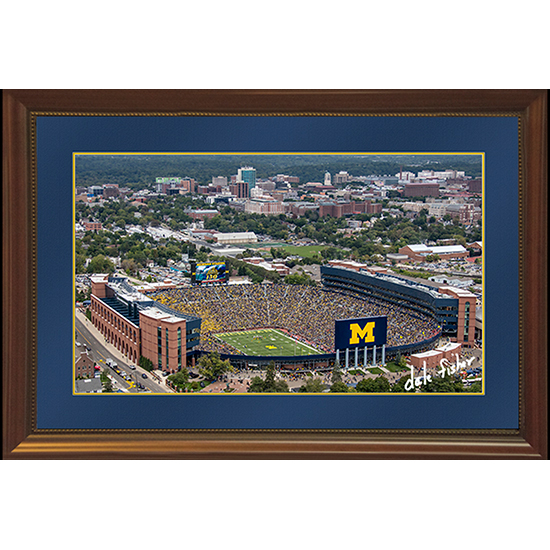 Dale Fisher University of Michigan Football Coach Harbaugh's First Game and Win Aerial 11x17 Framed Canvas Photo-- LIMITED EDITION