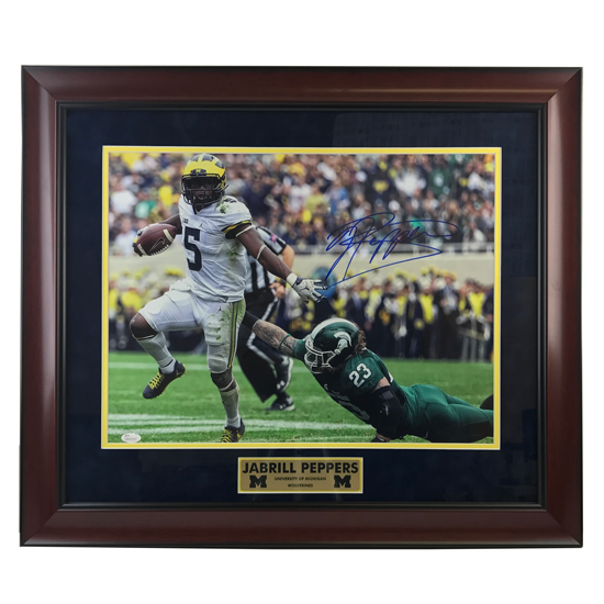 University of Michigan Football Framed Picture: Jabrill Peppers (v. MSU) Autographed Framed Photo