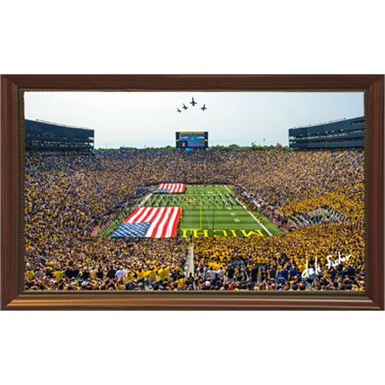 Dale Fisher University of Michigan Football vs. Air Force (9/16/17) Military Appreciation Day Flyover Framed Canvas Photo