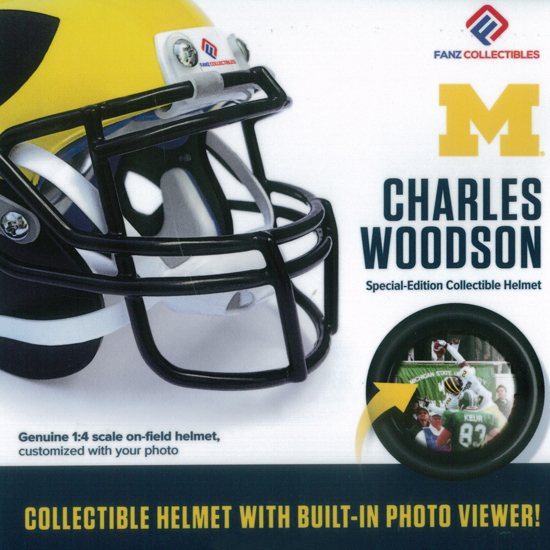 Fanz Collectibles University of Michigan Football Charles Woodson Collectible Mini Helmet with Built-In Photo Viewer