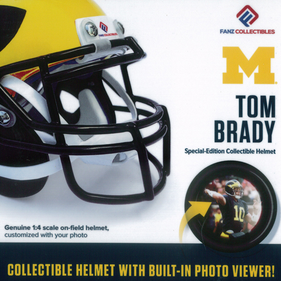 Fanz Collectibles University of Michigan Football Tom Brady Collectible Mini Helmet with Built-In Photo Viewer
