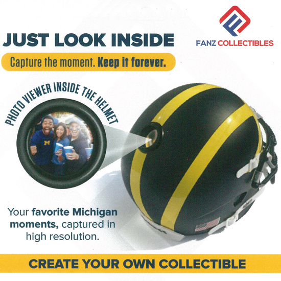 Fanz Collectibles University of Michigan Football Pre-Paid Card Good for A Customized Collectible Mini Helmet with Built-In Photo Viewer