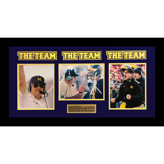 Second Story University of Michigan Bo Schembechler and Jim Harbaugh ''The Team'' Collage Framed Picture