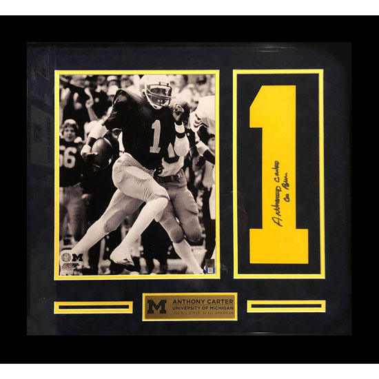 Second Story University of Michigan Football Anthony Carter Autographed Number and Framed Picture