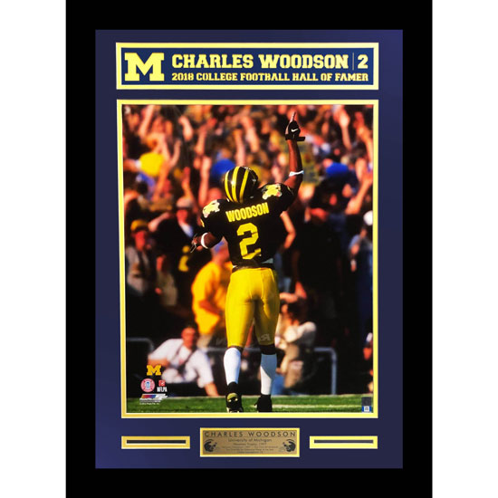 Second Story University of Michigan Football Charles Woodson Framed Picture