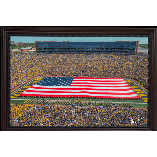 Dale Fisher University of Michigan Football vs. Army (9/7/19) Large Flag Framed Canvas Photo