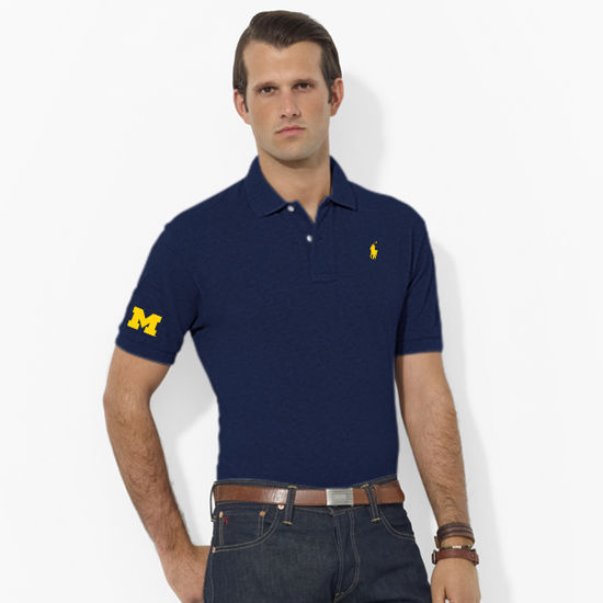 Polo Ralph Lauren University of Michigan Navy Classic-Fit Mesh Polo